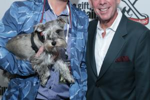 Board Member Elvis Duran with Alex Carr and their pooch Max (photo credit - John Nacion Imaging)